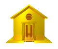 Gold house front entrance isolated Royalty Free Stock Photo