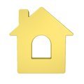 Gold house icon isolated render on a white background Royalty Free Stock Photo