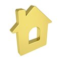 Gold house icon isolated render on a white background Stock Image
