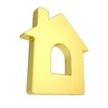 Gold house icon isolated render on a white background Royalty Free Stock Images