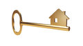 Gold house key golden home with shape at the end Royalty Free Stock Image