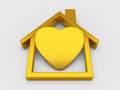 Gold House symbol and heart Royalty Free Stock Photo