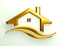 Gold house with waves logo Stock Photography