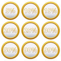 Gold icons with percent set of for your design Royalty Free Stock Photos