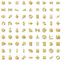Gold icons set isolated on white Stock Photos