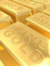 Gold ingots Stock Photography