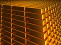 Gold ingots macro view of stacks and rows of Royalty Free Stock Images