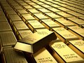 Gold ingots in a row wealth concept Royalty Free Stock Photo