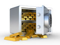 Gold ingots in the steel safe Stock Photos