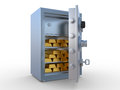 Gold ingots in the steel safe Stock Images