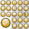 Gold Inset Control Button Icons Royalty Free Stock Images