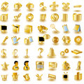 Gold Interface Icons Stock Photography