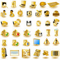 Gold interface icons 2 Royalty Free Stock Photos