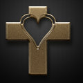 Gold jesus cross heart shape on grey background Royalty Free Stock Image
