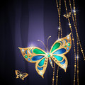 Gold jewelry butterflies blue background Stock Photos
