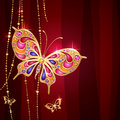 Gold jewelry butterflies purple background glamour background Royalty Free Stock Photography