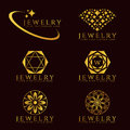 Gold Jewelry Diamond logo and flower logo vector set design Royalty Free Stock Photo