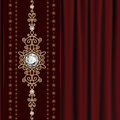 Gold jewelry on drape vintage red drapery background Royalty Free Stock Photo