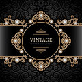 Gold jewelry frame vintage background swirly Stock Photo