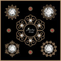 Gold jewelry set elegant of diamond vignettes on black Royalty Free Stock Photo