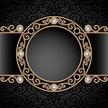 Gold jewelry vignette vintage background diamond swirly frame Stock Photos