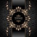 Gold jewelry vignette vintage background diamond swirly frame Stock Photos