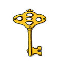 Gold key illustration yellow freehand drawing Stock Photography