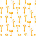 Gold keys seamless vector pattern on white. Vintage cartoon key background. Royalty Free Stock Photo