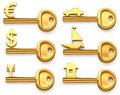 Gold keys symbolizing Euro,Dollar,Yen,House,Yacht and car. Concept illustration Royalty Free Stock Photo