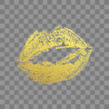 Gold kiss lips imprint vector golden glitter lipstick print