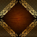 Gold lace on wooden background vector illustration of Royalty Free Stock Images