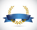 Gold laurel and blue ribbon illustration design over a white background Stock Photos