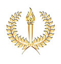 Gold laurel sport flames torch logo Royalty Free Stock Photo