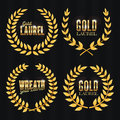 Gold Laurel Vector. Set Shine Wreath Award Design. Place For Text