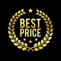 Gold Laurel Wreath. Best Price Award. Golden badge Design element for sale, retailing theme Business Vector illustration Royalty Free Stock Photo