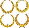 Gold laurels a set of four golden laurel wreaths Royalty Free Stock Photography