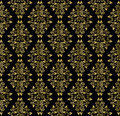Gold leaf pattern on a black background diamond diamond with leaves Royalty Free Stock Photography
