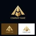 Gold letter a arrow company logo