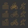 Gold line triathlon symbol Royalty Free Stock Photo