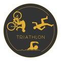 Gold logo triathlon. Gold figures triathletes. Royalty Free Stock Photo