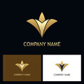 Gold luxury abstract flower logo