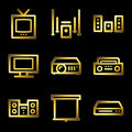 Gold luxury audio video web icons Stock Images
