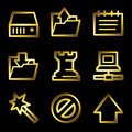Gold luxury data web icons Royalty Free Stock Image