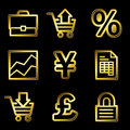 Gold luxury e-business web icons Royalty Free Stock Image
