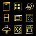 Gold luxury home appliances web icons Stock Image
