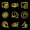 Gold luxury internet communication web icons Royalty Free Stock Photo