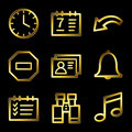 Gold luxury organizer web icons Royalty Free Stock Photography