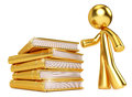Gold Man by Golden Stack of Books Royalty Free Stock Image