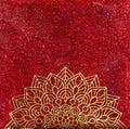 Gold Mandala on Red Glitter