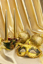 Gold mask and Christmas decorations with candles Stock Image
